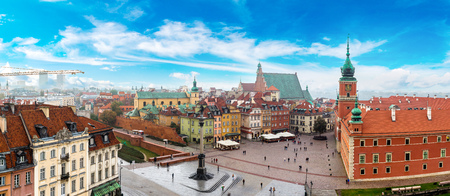 Panoramic view of Warsaw in a summer day n Poland Reklamní fotografie - 66001179