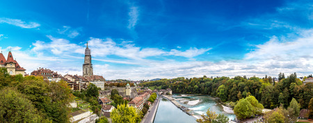 munster: Panoramic view of Bern and Berner Munster cathedral in Switzerland Stock Photo