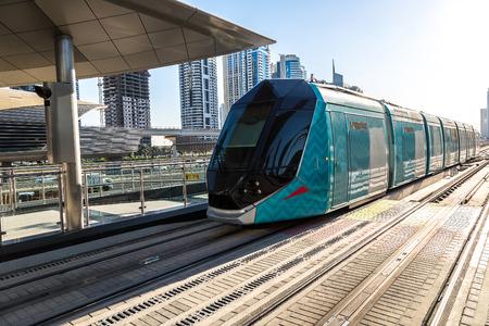tramway: DUBAI, UAE - DECEMBER 5: New modern tram in Dubai, UAE. December 5, 2015 in Dubai, United Arab Emirates