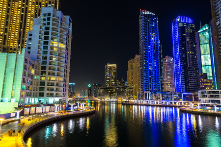 Dubai marina in a summer night, Dubai, United Arab Emirates