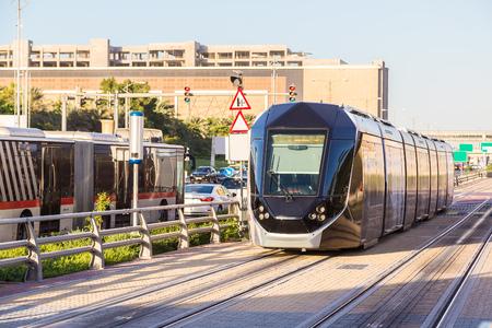 rta: DUBAI, UAE - DECEMBER 5: New modern tram in Dubai, UAE. December 5, 2015 in Dubai, United Arab Emirates