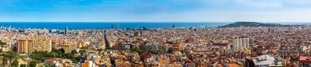 sagrada: Panoramic view of Barcelona from Park Guell in a summer day in Spain Stock Photo