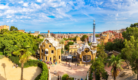 Park Guell by architect Gaudi in a summer day  in Barcelona, Spain. Editorial