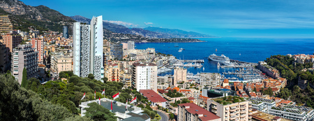 Panoramic view of princes palace in Monte Carlo in a summer day, Monaco Editorial