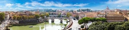 Panorama of Rome and Basilica of St. Peter in a summer day in Vatican Stock Photo