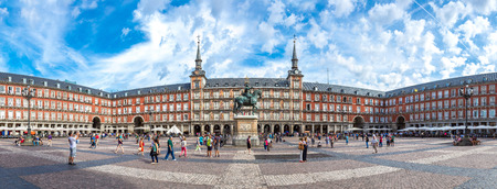 Statue of Philip III at Mayor plaza in Madrid in a beautiful summer day  in Madrid, Spain Editorial