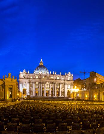 Basilica of Saint Peter in Vatican at beautiful sunset Stock Photo