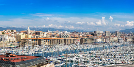 Old sea port in a summer day in Marseille, France in a summer day Stock Photo