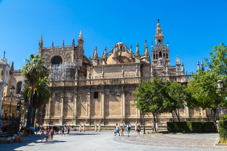 SEVILLA, SPAIN - JUNE 11, 2016: Seville Cathedral in Sevilla in a beautiful summer day, Spain on June 11, 2016 Editorial