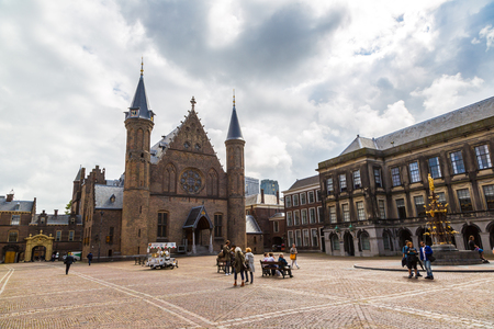 HAGUE, THE NETHERLANDS - JUNE 16, 2016: Binnenhof palace, dutch parliament in Hague in a    beautiful summer day, The Netherlands on June 16, 2016