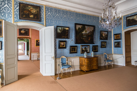 PILSRUNDALE, LATVIA - JUNE 22, 2016: Interior of Rundale palace in a beautiful summer day in Pilsrundale, Latvia on June 22, 2016 Editorial