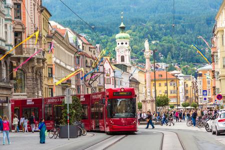 innsbruck: INNSBRUCK, AUSTRIA - JUNE 23, 2016: City train in Innsbruck in a beautiful summer day, Austria on June 23, 2016