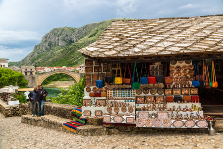 MOSTAR, BOSNIA - HERZOGOVINA - JUNE 28, 2016: Street market in a historical center in Mostar in a beautiful summer day, Bosnia and Herzegovina on June 28, 2016