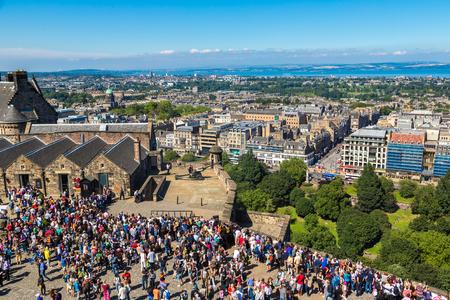 scottish parliament: EDINBURGH, SCOTLAND - JUNE 25, 2016: Edinburgh castle cannon which shoots at one oclock, Scotland, United Kingdom on June 25, 2016