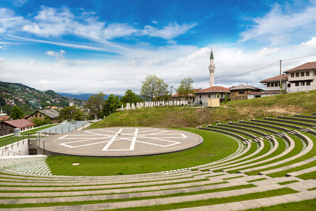 Historical center in Sarajevo in a beautiful summer day, Bosnia and Herzegovina Stock Photo