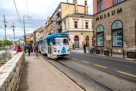 sarajevo: SARAJEVO, BOSNIA - HERZOGOVINA - JUNE 28, 2016: Old tram in Sarajevo in a beautiful summer day, Bosnia and Herzegovina on June 28, 2016