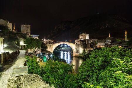 The Old bridge in Mostar in a beautiful summer night, Bosnia and Herzegovina Stock Photo