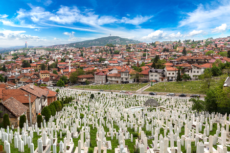 A muslim cemetery in a beautiful summer day in Sarajevo, Bosnia and Herzegovina
