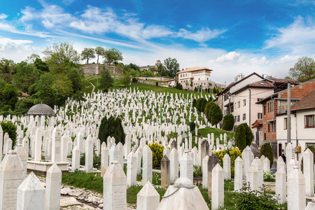 sarajevo: A muslim cemetery in a beautiful summer day in Sarajevo, Bosnia and Herzegovina