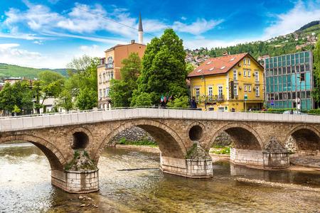 Latin bridge in Sarajevo in a beautiful summer day, Bosnia and Herzegovina