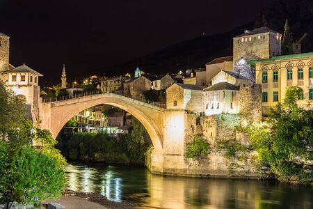 The Old bridge in Mostar in a beautiful summer night, Bosnia and Herzegovina Stock Photo