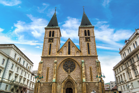 The sacred heart cathedral in Sarajevo in a beautiful summer day, Bosnia and Herzegovina