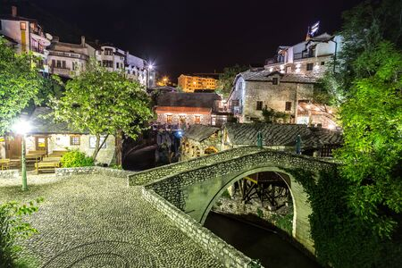 Mostar in a beautiful summer night, Bosnia and Herzegovina
