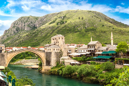 The Old Bridge in Mostar in a beautiful summer day, Bosnia and Herzegovina