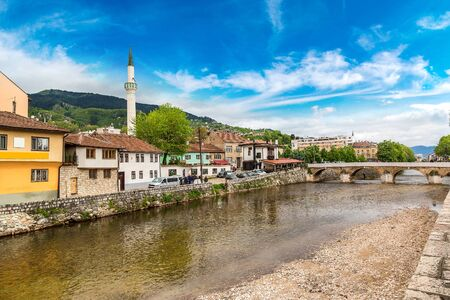 Historic centre of Sarajevo in a beautiful summer day, Bosnia and Herzegovina Stock Photo