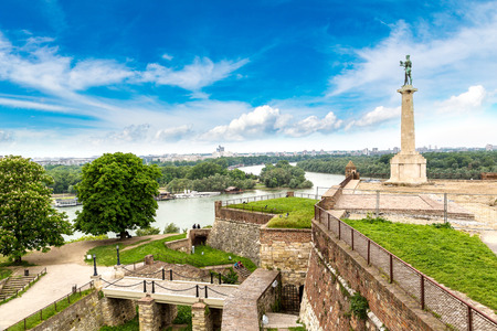 The Pobednik monument and fortress Kalemegdan in Belgrade, Serbia in a beautiful summer day Editorial