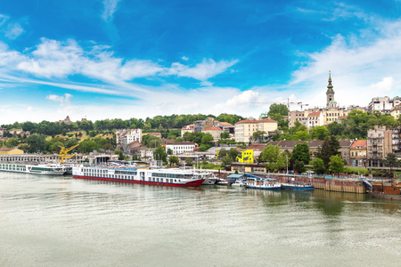 Belgrade cityscape from the Sava river in Serbia in a beautiful summer day Reklamní fotografie