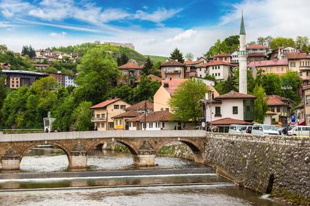 Historic centre of Sarajevo in a beautiful summer day, Bosnia and Herzegovina Stock Photo