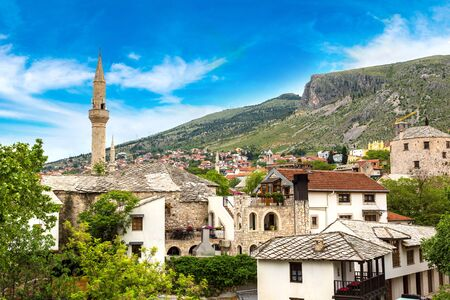 Historical center in Mostar in a beautiful summer day, Bosnia and Herzegovina