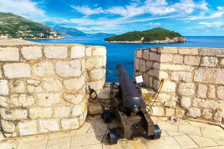 Old cannon on the wall fortress in Dubrovnik in a beautiful summer day, Croatia