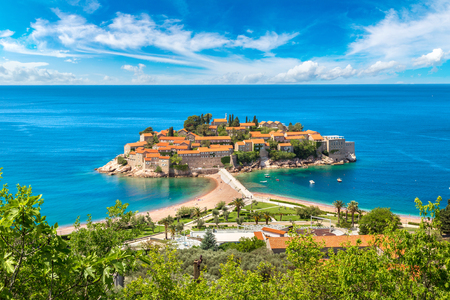budva: Sveti Stefan island in Budva in a beautiful summer day, Montenegro Stock Photo