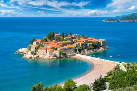 Sveti Stefan island in Budva in a beautiful summer day, Montenegro 스톡 콘텐츠