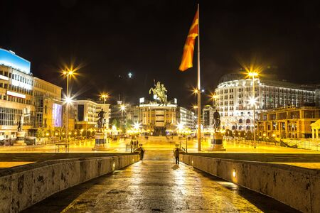 Alexander the Great Monument in Skopje in a beautiful summer nigth, Macedonia
