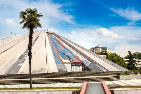 The Pyramid in Tirana, built by dictator Enver Hoxha in a beautiful summer day, Albania