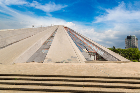 dictator: The Pyramid in Tirana, built by dictator Enver Hoxha in a beautiful summer day, Albania