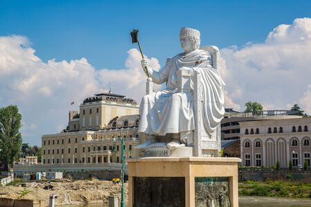 justinian: Monument of Justinian I in Skopje in a beautiful summer day, Macedonia