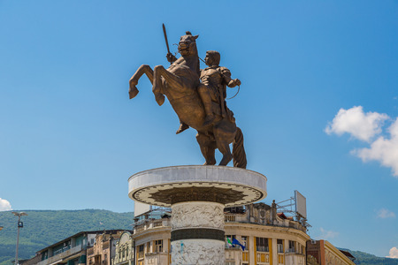 Alexander the Great Monument in Skopje in a beautiful summer day, Macedonia