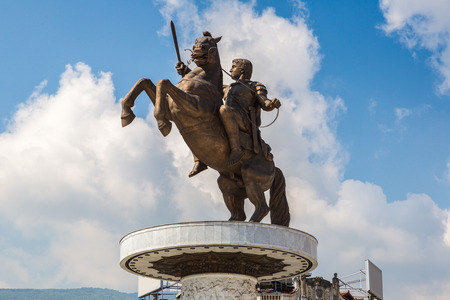 public figure: Alexander the Great Monument in Skopje in a beautiful summer day, Macedonia