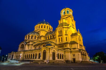 Alexander Nevski Cathedral in Sofia in a beautiful summer night, Bulgaria Stock Photo