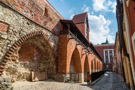 Wall of medieval in Riga in a beautiful summer day, Latvia