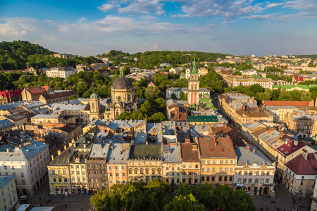 Panoramic view of Lviv in a beautiful summer day, Ukraine