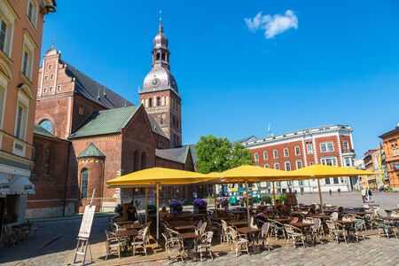 dom: RIGA, LATVIA - JUNE 13, 2016: The Dome Cathedral in the center of the old town in Riga in a beautiful summer day, Latvia on June 13, 2016