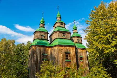 Traditional ukrainian church in Pirogovo in a beautiful summer day, Kiev, Ukraine Stock Photo