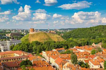 bastion: Gediminas tower in Vilnius in a beautiful summer day, Lithuania