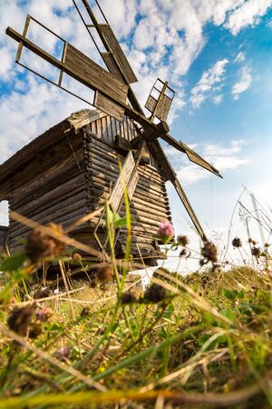 Traditional ukrainian windmill in Pirogovo in a beautiful summer day, Kiev, Ukraine Stock Photo
