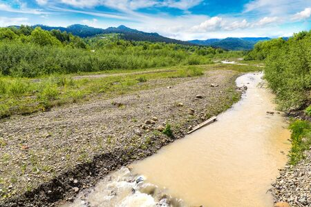 waterless: Dry river in a beautiful summer day Stock Photo